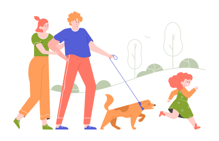 The family walking in the park with the dog Illustration