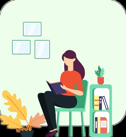 The girl reading book Illustration