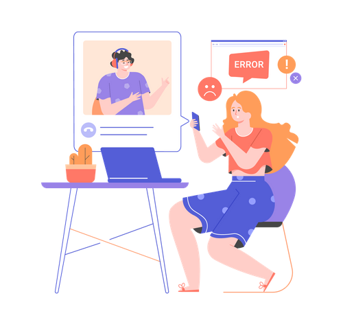 The girl with a laptop calls the technical support of the Internet provider Illustration