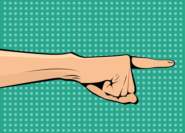 The hand points sideways and up pop art retro vector Illustration