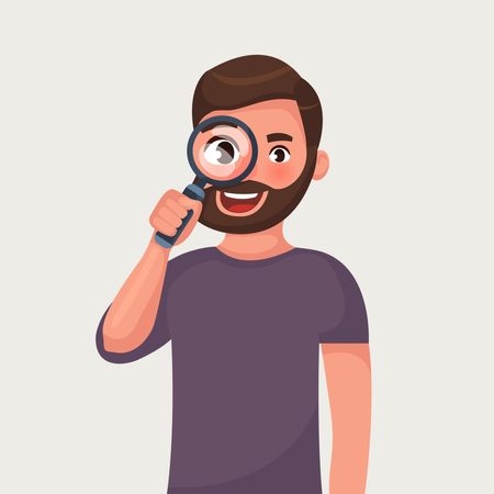 The man in glasses with beard is looking through magnifying glass and search Illustration