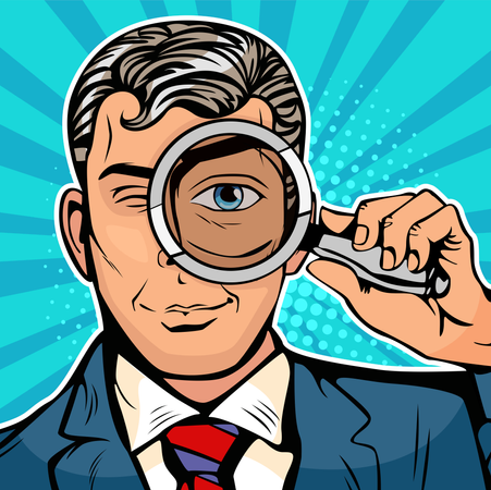 The man is a detective looking through magnifying glass search Illustration