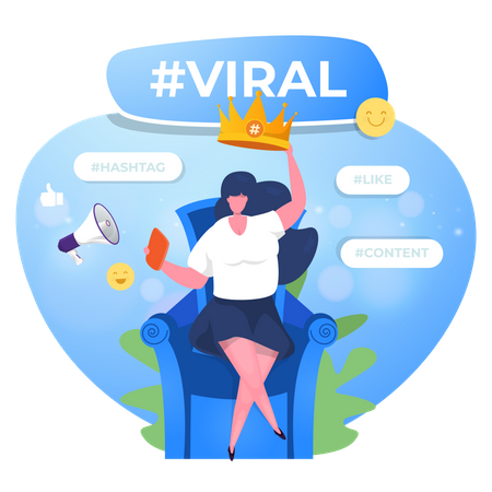 The queen of viral content Illustration