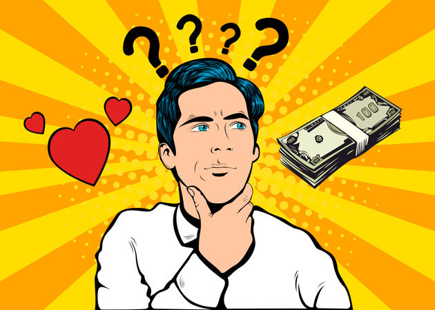 The question of choice between love and money and family and career Illustration