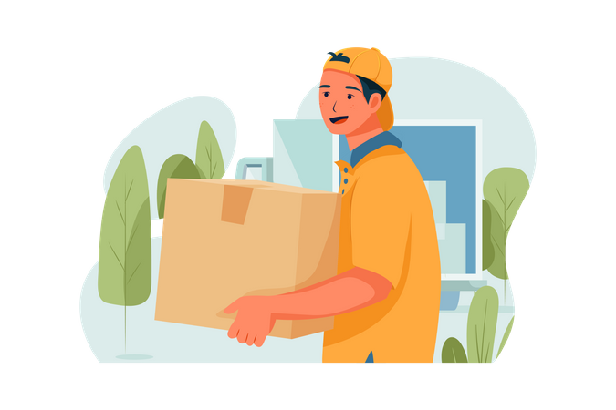 The shipper is delivering the box Illustration