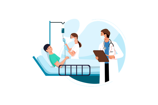 The sick young person lies with dropper near with doctor and nurse measuring dropper at the hospital Illustration