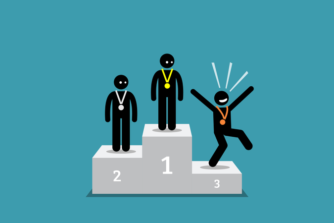 The stick figure person in third place is happier than the people in the first and second place Illustration