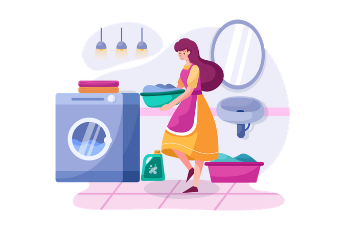 The woman bringing clothes to the washing machine Illustration