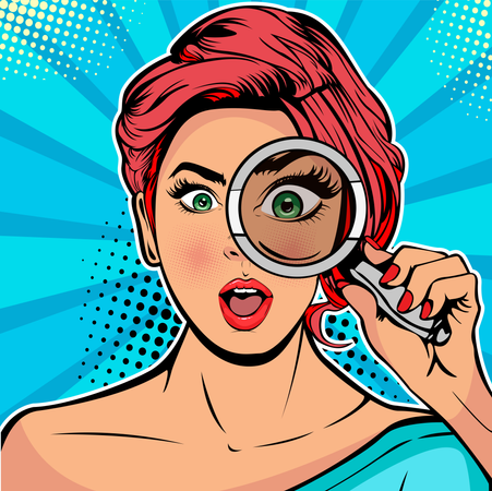 The woman is a detective looking through magnifying glass search Illustration