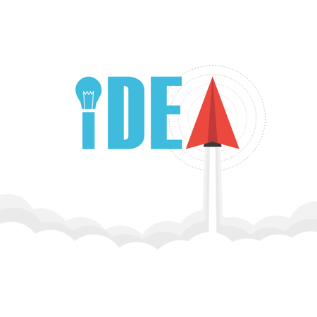 The Word 'idea' On Sky With Paper Plane And Light Bulb, Thinking Concept Illustration