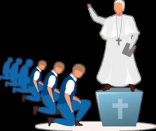 Theocracy political system Illustration