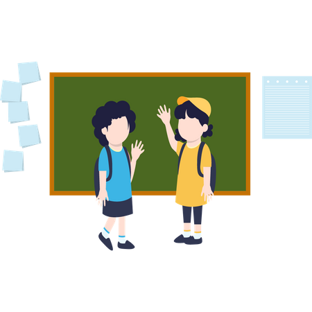 There are two kids waving each other Illustration