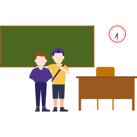 There are two students standing in the classroom Illustration