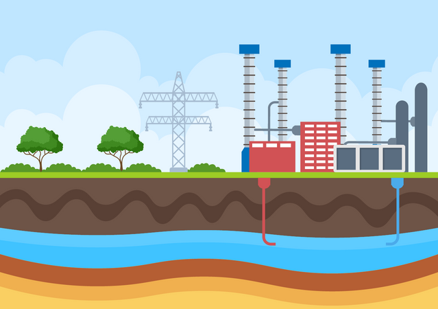Thermal Power Plant Illustration