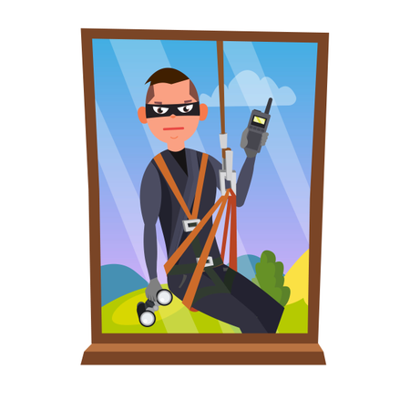 Thief Breaking Into House Through Window Illustration