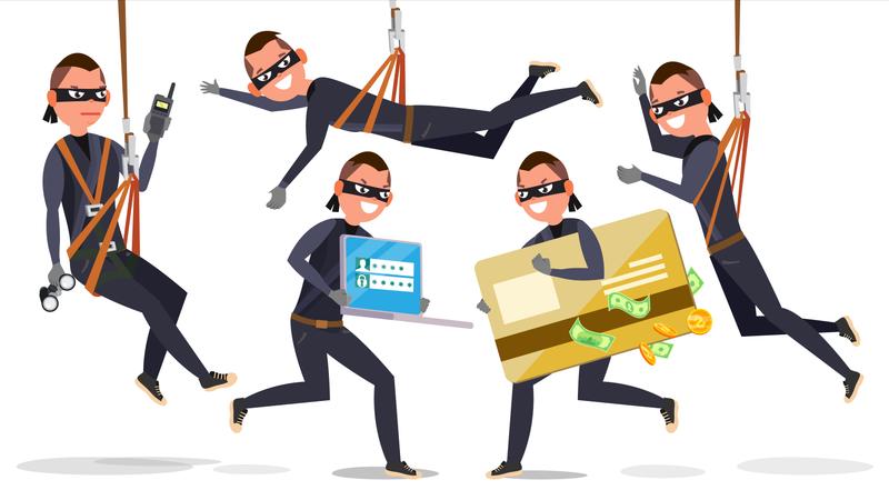Thief, Hacker Man Stealing Credit Card Information, Personal Data, Money Illustration