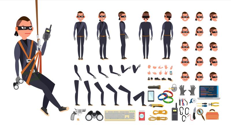 Thief, Hacker Vector Illustration