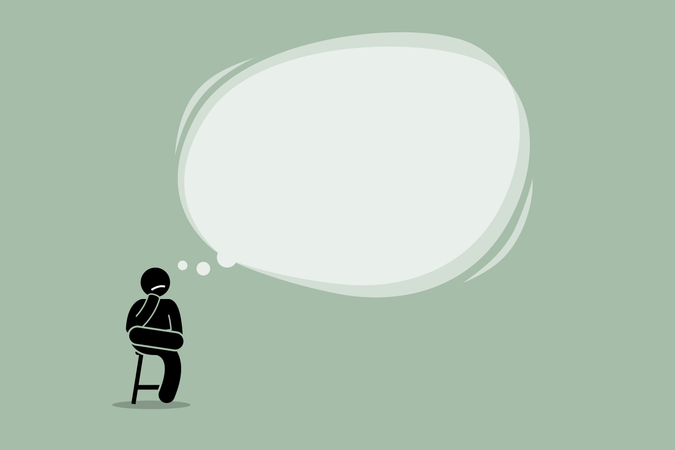Thinking man sitting on a chair with a big empty bubble cloud Illustration