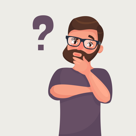Thinking man with question mark Illustration