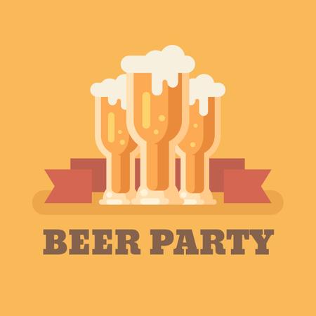 Three beer glasses on orange background Illustration