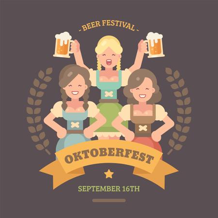 Three beer maids in dirndl dresses Illustration