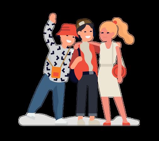 Three best friends standing together Illustration