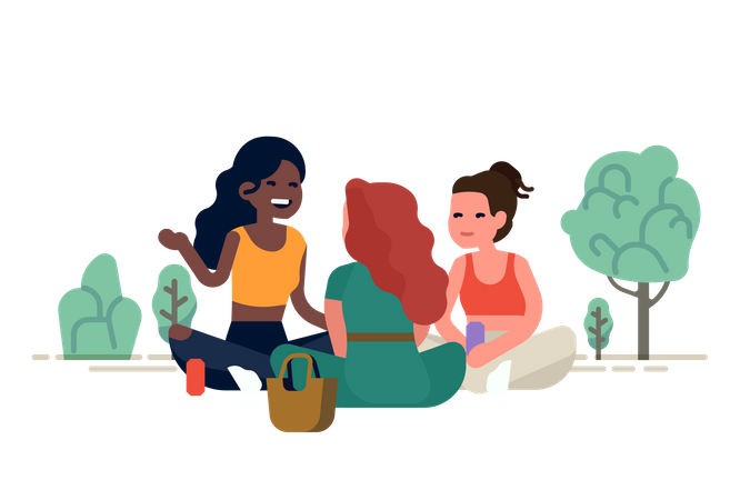 Three girl friends having a picnic in a park sitting around talking to each other Illustration