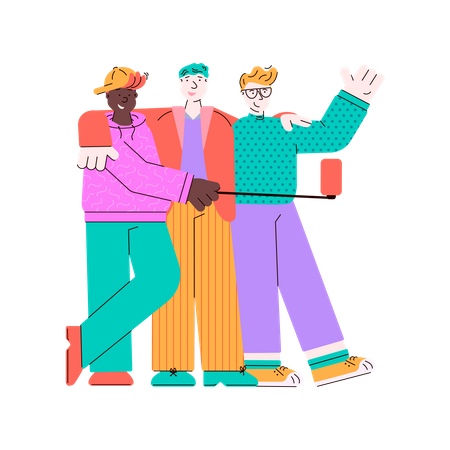 Three young man taking selfie picture with smartphone on stick Illustration