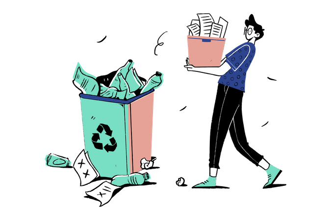 Throw Garbage Illustration