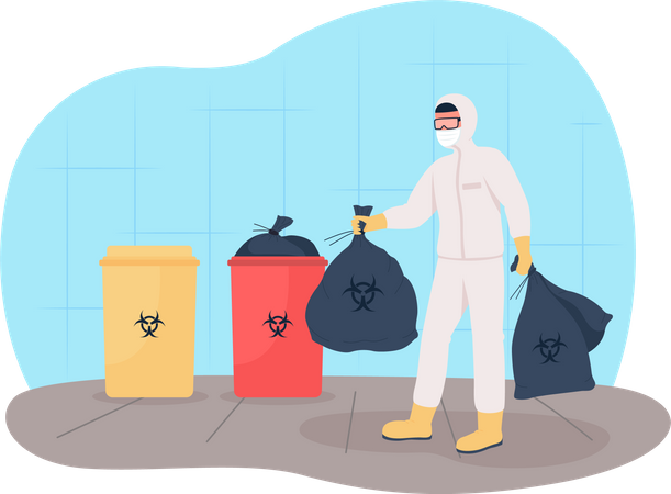 Throw out medical waste Illustration