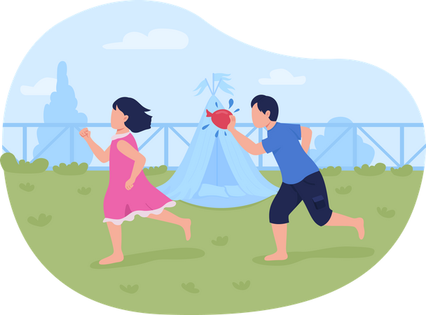 Throwing water balloons Illustration