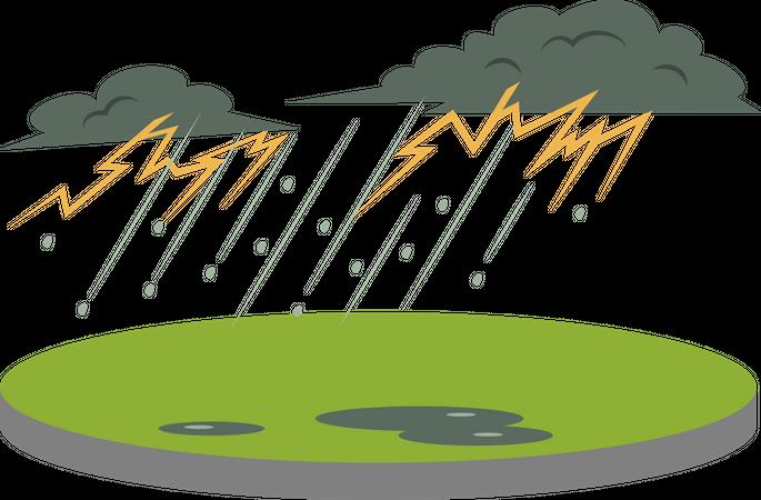 Thunderstorm in rural area Illustration