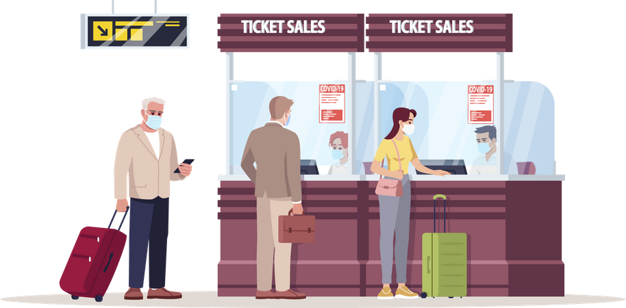 Ticket booking counter Illustration