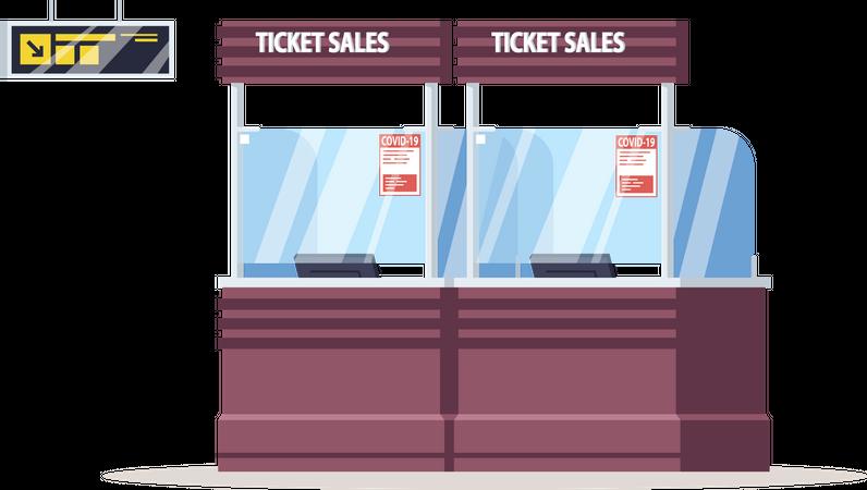 Ticket sales counter with coronavirus warning Illustration
