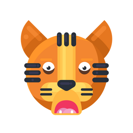 Tiger afraid expression Illustration