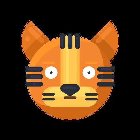 Tiger astonished expression Illustration