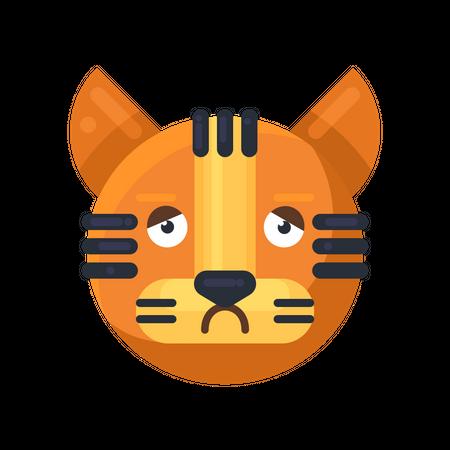 Tiger boring emotion Illustration