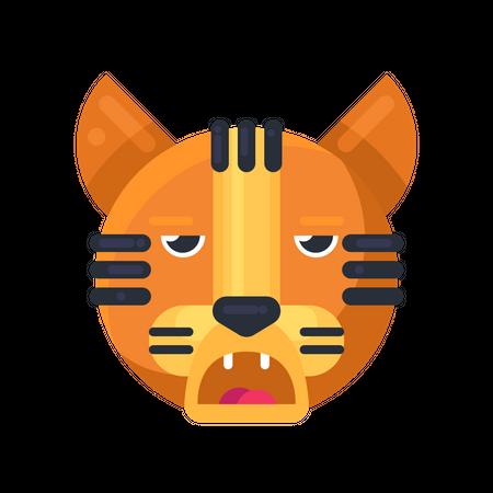 Tiger boring expression Illustration