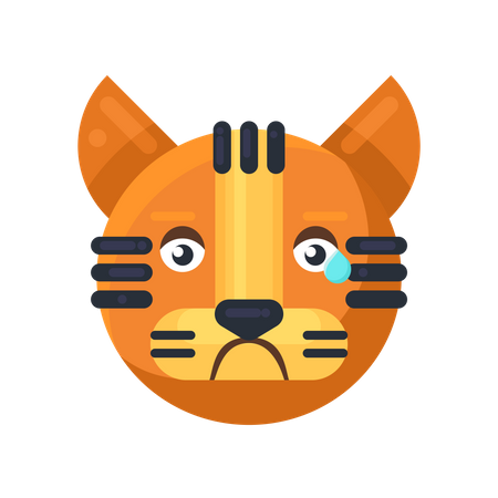 Tiger crying expression Illustration