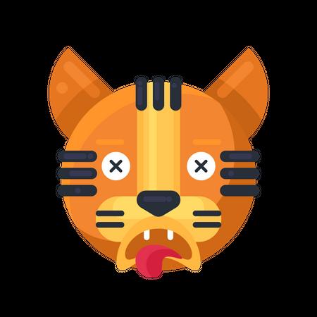 Tiger dead reaction Illustration