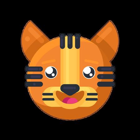 Tiger happy eyes expression Illustration