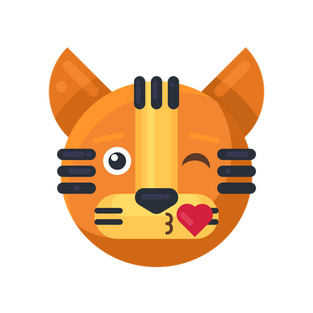 Tiger kiss with heart expression Illustration