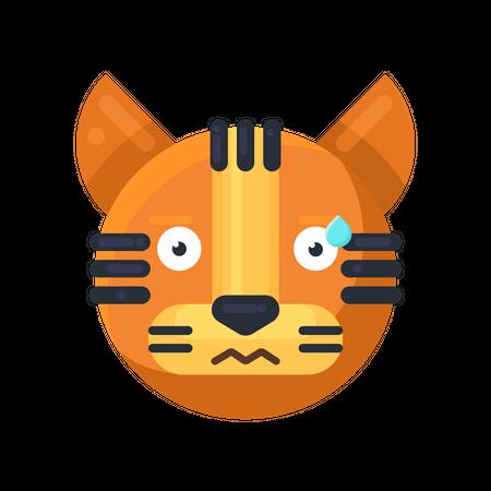 Tiger perspirable expression Illustration