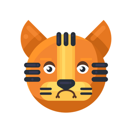 Tiger sadness expression Illustration