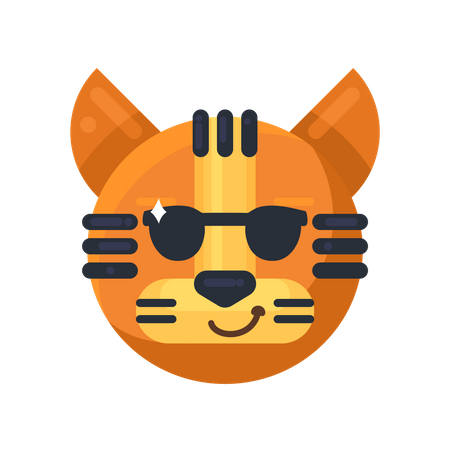 Tiger smiling and wearing sunglasses Illustration