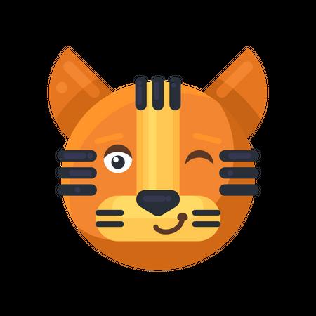 Tiger winking expression Illustration