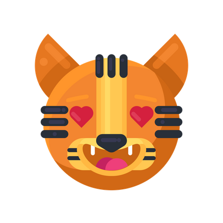 Tiger with hearts in eyes expression Illustration