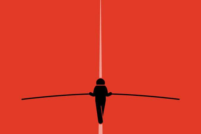 Tightrope walker walking and balancing on the wire with a long pole. Illustration