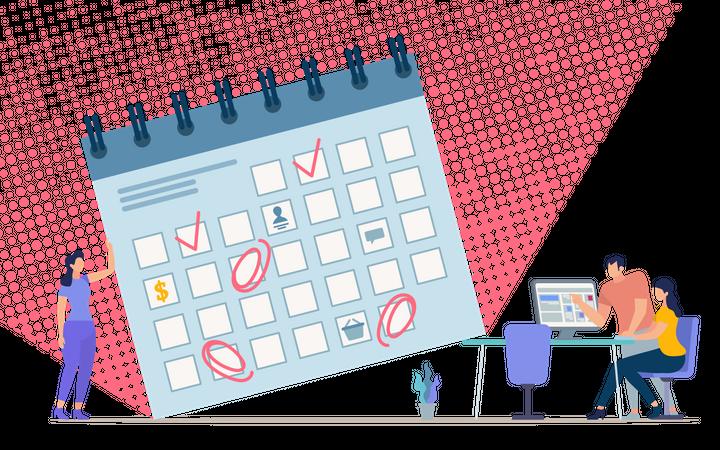 Time Management for Business Team, Organizing Meetings Calendar Illustration