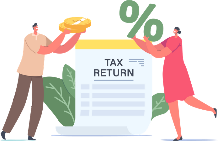 Tiny Male or Female Characters Holding Huge Golden Coins and Percent Symbol at Tax Return Paper Document, Money Cashflow Illustration